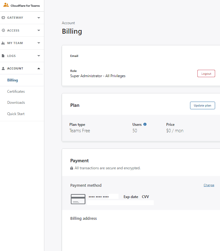 Cloudflare For Teams Billing page